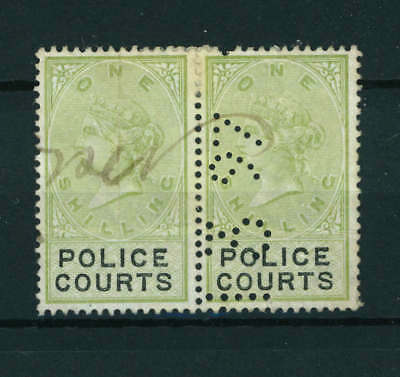 GB Queen Victoria One Shilling Police Courts Pair of Stamps. Used.