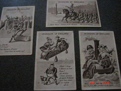 WW1Kaiser Humour. Invasion of England. x4 postcards