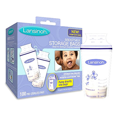 Breastmilk Storage Bags with Pour Spout and Patented Double Zipper Seal 100 ct
