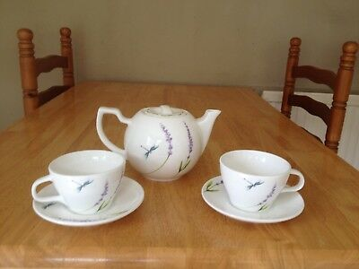 Lavender & Dragonfly Teapot and 2 Cups and Saucers