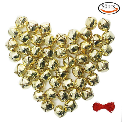 Whonline 1 Inch Christmas Small Golden Bells Craft (50 Pack) for Festival Decora