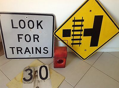 Railway Lamp, Old Maintenance Speed Sign, Look For Trains, Rail Crossing Sign