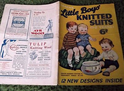 ORIGINAL VINTAGE 1930's? LEACH'S PATTERN BOOKLET 145 'LITTLE BOYS KNITTED SUITS'
