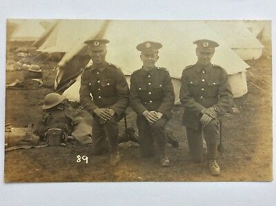 vintage postcard, WW1, Hampshire Regiment,1st Btln. territorial, cap badges