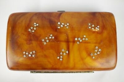 Vintage Ilene 1950 Diamante Honey Bees Caramel Lucite Minaudiere Clutch Box Bag