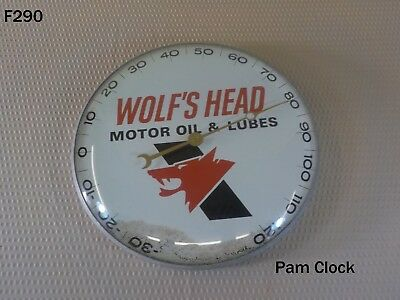 Vintage Wolfs Head Motor Oil & Lubes Thermometer Pam Clock Gas Service Station