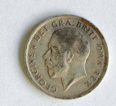 1915 George V sterling silver shilling coin - British Silver Coin - A55