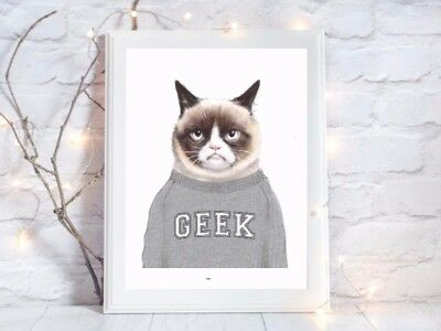 geek cat lover a4 glossy Print picture gift poster unframed