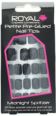 Royal 24 Petite Sized Pre-Glued Nail Tips False Nails Midnight Spritzer Black