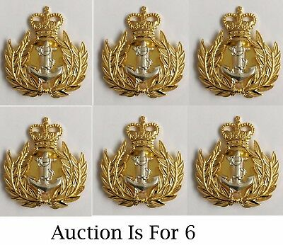 Royal Navy Warrant Officer Metal Cap Badge, X 6 Regulation Issue
