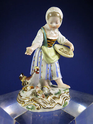 Antique 19th Century Meissen Porcelain Figurine ~ Farm Girl Feeding Chickens