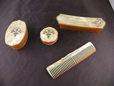 Vintage Green Celluloid Vanity Set Powder Container Hair Comb Trinket Box Lot