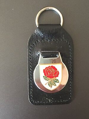 Vintage England Red Rose Rugby badge on real leather fob keyring (made In UK)
