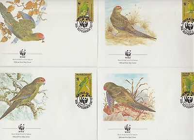 Norfolk Island WWF Parrots Fauna  set of 4 FDC 1987