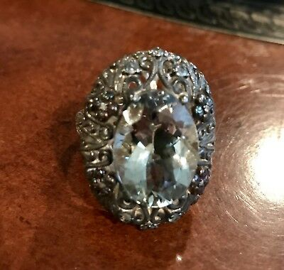 Sterling Silver And 14K Gold Ring With Victorian Look HUGE Ring Size