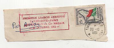 Madagascar Proclamation of Republic 1958 Stamp Postmarked 1961 on Paper