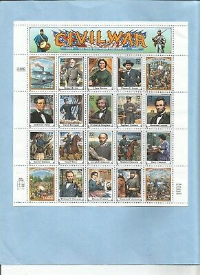 Civil War Classic Collection 1995 Stamp Sheet of 20 USA 32 cent