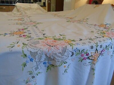 """,Vintage,Hand Worked,Banquet Size Tablecloth,62""""x 112"""",158 cms x 284 cm ,Roses"""