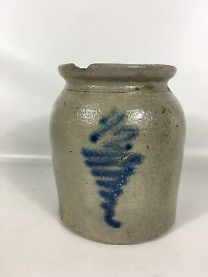 Antique Stoneware Crock Tiny 1/2 Gallon Blue Art