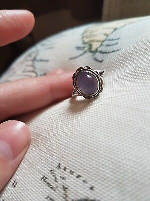 Statement Sterling Silver Ring with Lilac Stone