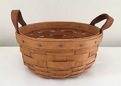 Longaberger 1993 Button Basket with Leather Handles