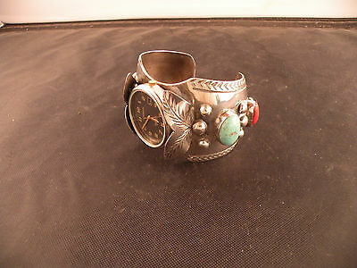 Vintage Navajo Sterling huge Turquoise & Coral cuff bracelet, watch band