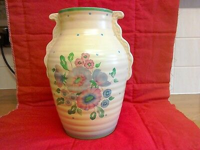 Clarice Cliff Ribbed Vase 24 cm tall floral with spots
