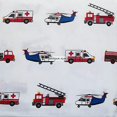 Emergency Vehicles ~ Fire Truck Ambulance Helicopter Full ~ Twin Sheet Sets