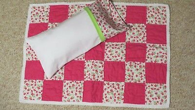 pink doll quilt with pillow set, handmade