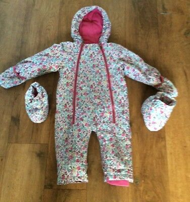 Joules Ditsy Girls Snowsuit, age 12-18 months, very good condition