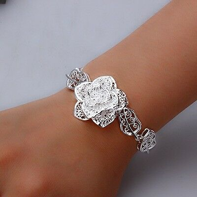 New Valentine Gift Women Jewelry Silver Bloomy Rose Bangle/Bracelet