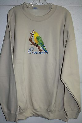 Conure Parrot Embroidered On A 2XLarge Tan Crewneck Sweatshirt