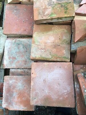 100 + Reclaimed red clay 9 x 9 handmade antique quarry tiles pamments