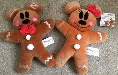 Disney Parks Mickey & Minnie Mouse Gingerbread Plush Set Soft Plushes, Bnwt