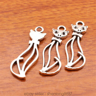 10Piece 34*11mm Cute Cat Charms Connector Bails Tibetan Silver DIY Jewelry 7128F