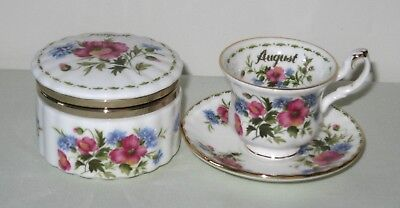 Royal Albert Flower of the Month 'August' MINIATURE Cup/Saucer & Trinket Box