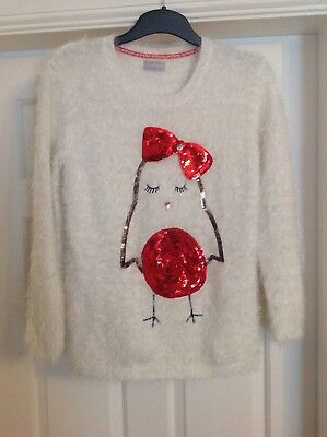 Girls Musical Fluffy Christmas jumper age 12-13 years