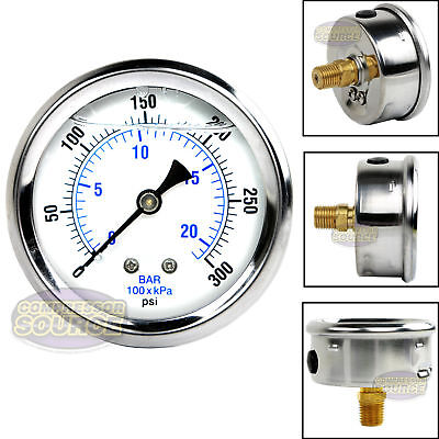 "Liquid Filled 300 PSI Air Pressure Gauge Center Back Mount Mnt with 2.5"" Face"