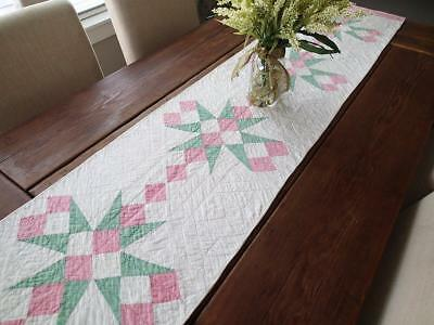 """LARGE Fabulous Vintage Pink And Green Table Quilt Runner 69x16"""""""
