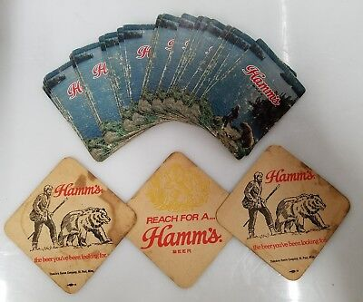 Hamms Beer Playing Cards , Man  and Bear, 1 Deck of Cards , and 3 Coasters,USED