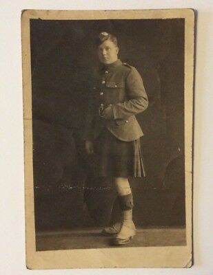 vintage postcard, WW1, Scottish soldier, Kilt, Westmuir St, Glasgow