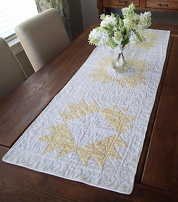 """Densely Quilted Soft Yellow & White Delectable Mountains QUILT TABLE RUNNER 53"""""""