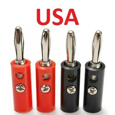 4Pcs Iron Pin Banana Plug Speaker Screw Wire Cable Connector 4mm *USA*