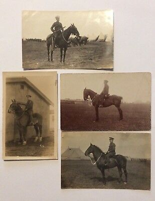 vintage postcards, WW1, Mounted Soldiers, Horses, Real photos