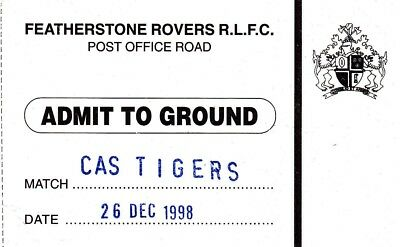 Ticket - Featherstone Rovers v Castleford Tigers 26.12.1998