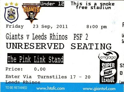 Ticket - Huddersfield Giants v Leeds Rhinos 23.09.2011