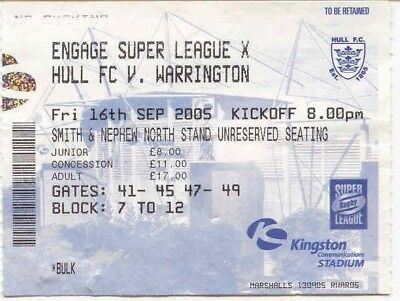 Ticket - Hull FC v Warrington 16.09.05
