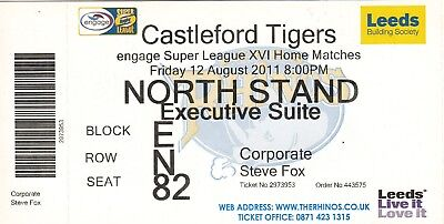 Ticket - Leeds Rhinos v Castleford Tigers 12.08.2011