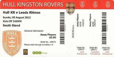 Ticket - Hull Kingston Rovers v Leeds Rhinos 05.08.2012