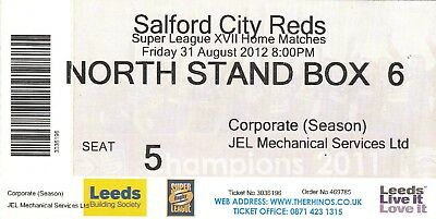 Ticket - Leeds Rhinos v Salford City Reds 31.08.2012